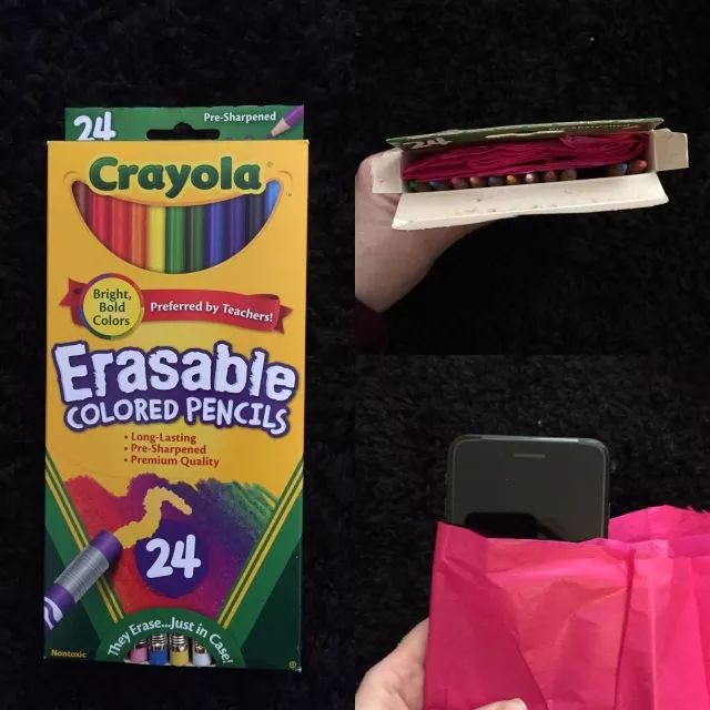 My husband always got colored pencils for his birthday and Christmas growing up and he hates them cause he's colorblind. He's wanted an iPhone forever so today I bought him one and this is how I wrapped it.