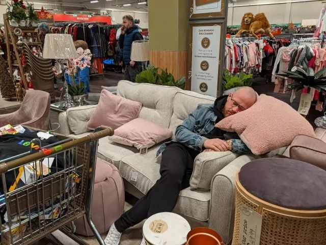 Dragged my husband Christmas shopping on a hangover. He was a great help.