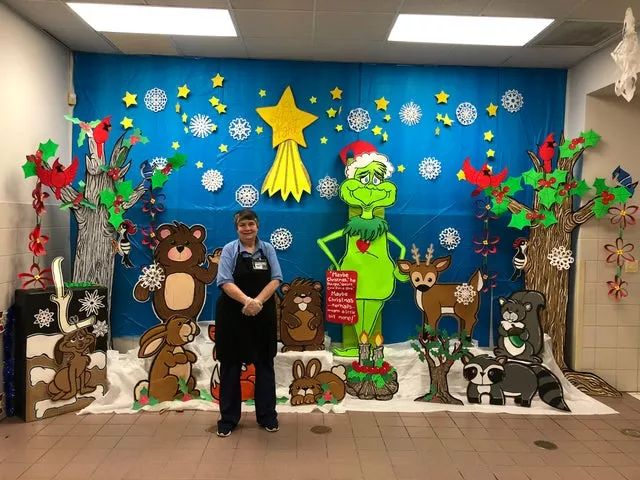 Our school lunch lady made this Christmas display by hand