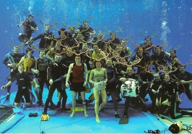 While filming the underwater scenes for 'Harry Potter and the Goblet of Fire', Daniel Radcliffe got a group photo with the cast and crew and then photoshopped antlers and Rudolph noses onto everyone and sent it out as a Christmas card.