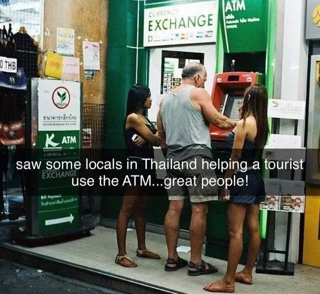In Thailand, kind people guide tourists to withdraw money at an automated teller machine