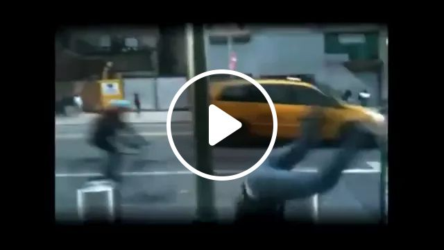 on the street man jumps on obstacles