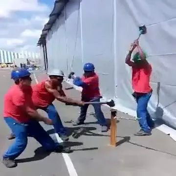 Workers use hammers very flexibly - Video & GIFs | hardworking workers, protective clothing, hammers, working tools