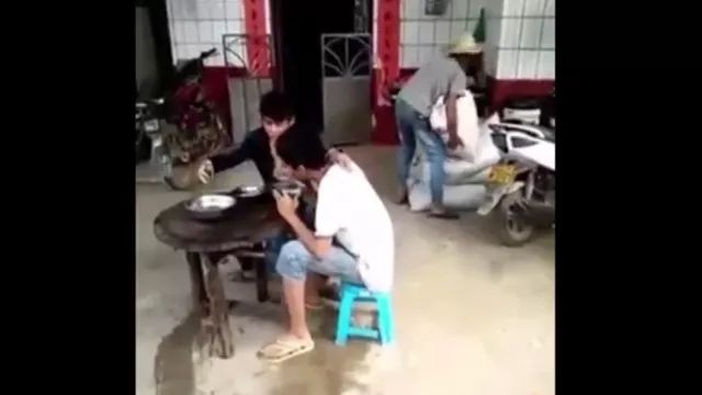 Two men are eating lunch but unfortunately fell - Video & GIFs | man, lunch, dining table, wooden chair, falls