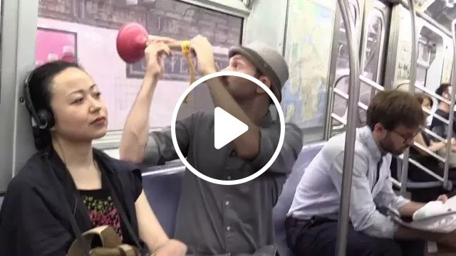 He is traveling by subway
