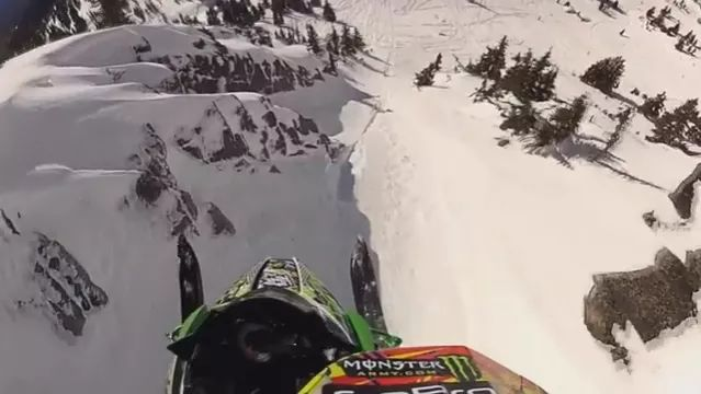 Flying snowmobile on high mountain