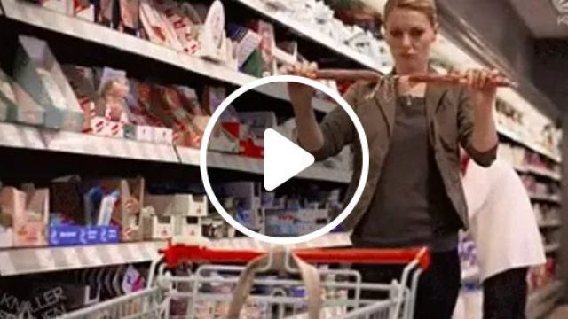 Girl try durability of food in supermarket, Cute girls, fashion clothes, delicious food, supermarket strollers, consumer goods