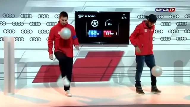 Messi and Neymar perform soccer skills on television