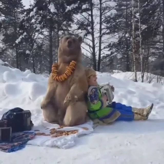 Man and bear travel to Russia in winter