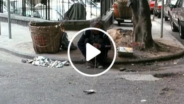On The Street, Old Woman Took A Can Of Soft Drink For Recycling - Video & GIFs | street, luxury car, old lady, get cans of carbonated soft drinks, recycle, recycling, environment