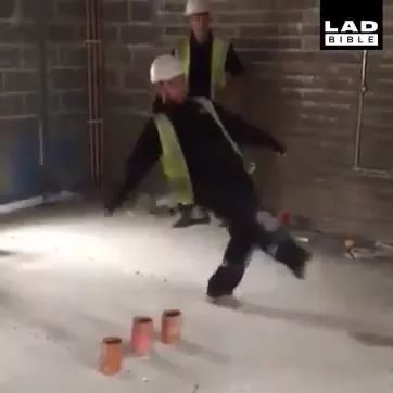 Workers shot cans in construction site