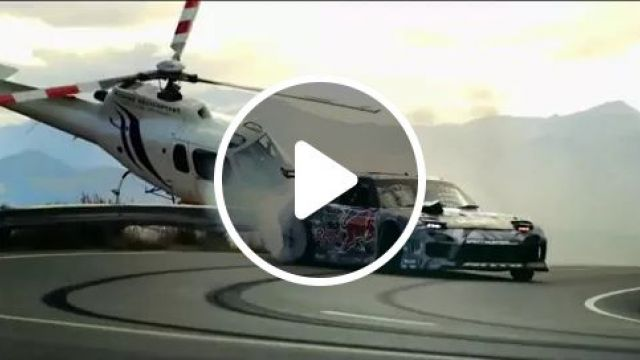Sports Car And A Helicopter Are Very Close Together - Video & GIFs | performances, talents, cars, Sports car, Helicopter, street, drift