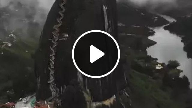 Piedra El Peñol Is A 650ft Rock That People Walk Up And Down - Video & GIFs | home, mountain top, architecture, nature, design, beautiful, china travel