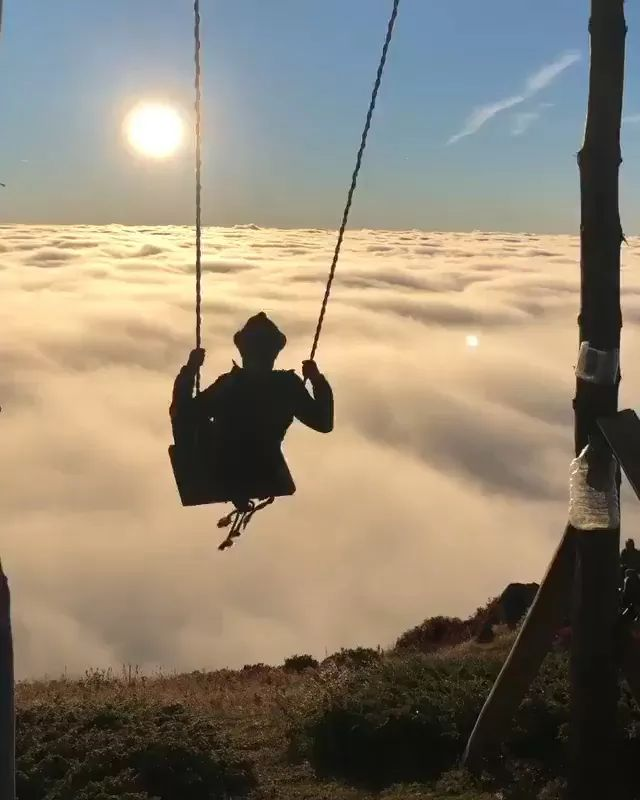 High altitude challenge swing - Video & GIFs | high, altitude, challenge, swing,cloud, mountain peak, nature, asian travel
