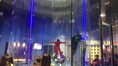 a man flies in play area