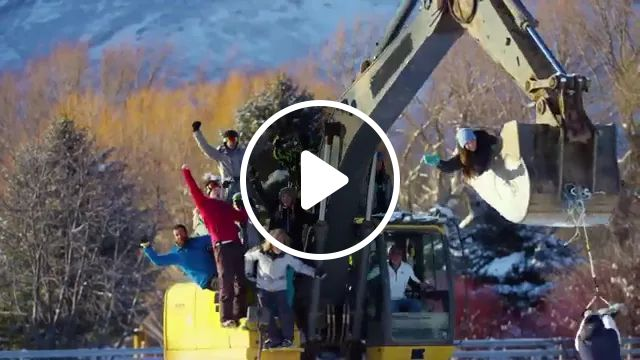 In winter, people have fun with excavator, winter, people, men and women fashion, smartphones, camcorders, winter fashion, Sweden travel, sports equipment, play, excavator