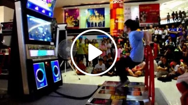 Play area, boy dancing very fast