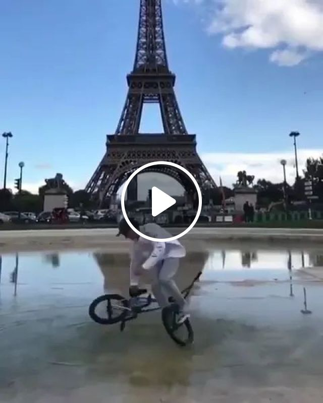 Bicycle performances and French tour, Sports bike, man talent, French street, French travel, eiffel tower
