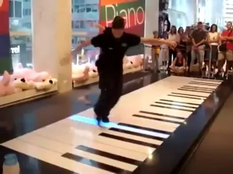Pianists perform in shopping malls