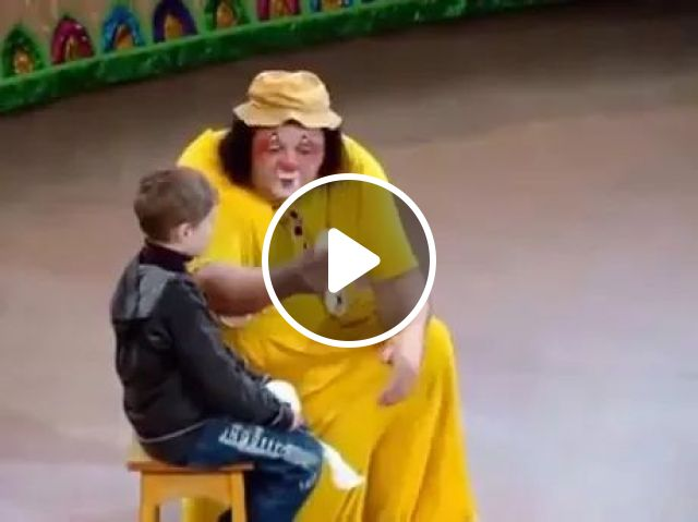 Clown playing with children
