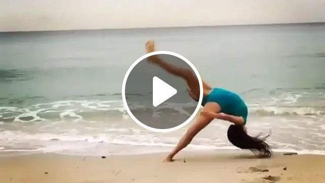 Acrobatic girl, acrobatics, beach, girl, fall