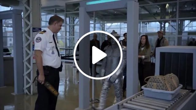 Security personnel are checking people at airport, Security staff, security equipment, airport