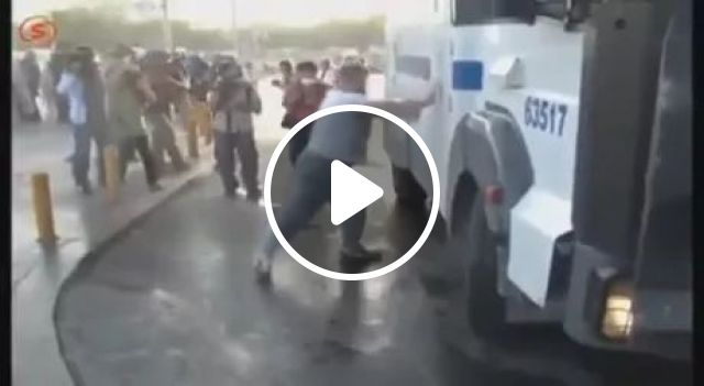 Man vs water cannon, police smart, fire car, pressure spray, funny men, men's fashion clothes