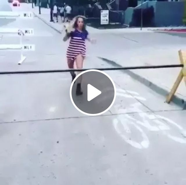 Girls try to jump over obstacles on the street, girl, jumps, falls, streets, performances