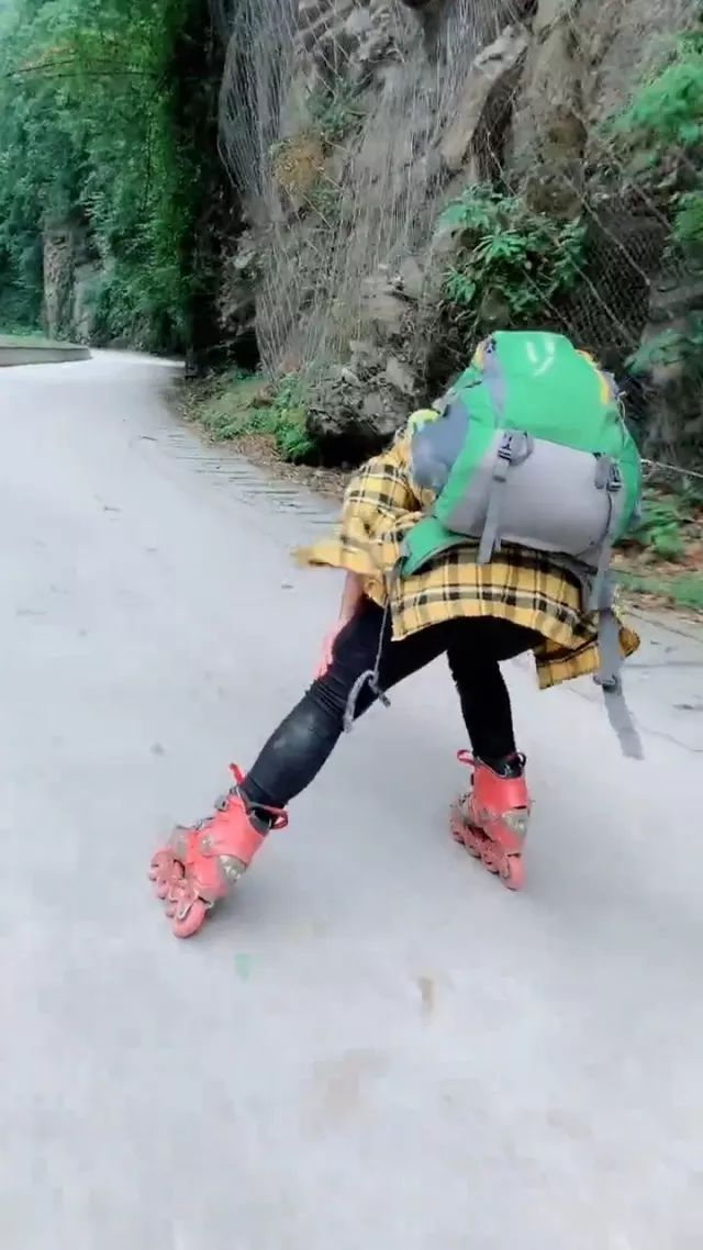 Girl traveling to China with roller skates