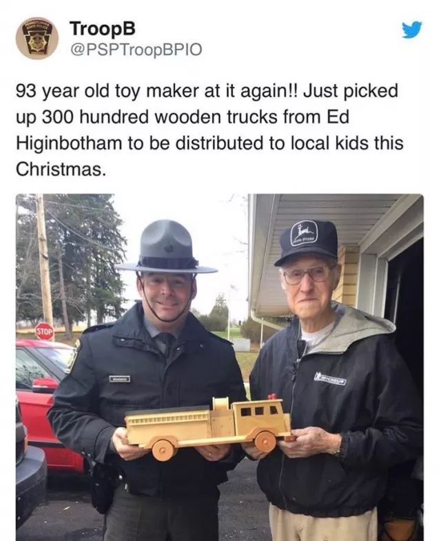 93 yr old toy maker makes 300 wooden trucks for kids at Christmas