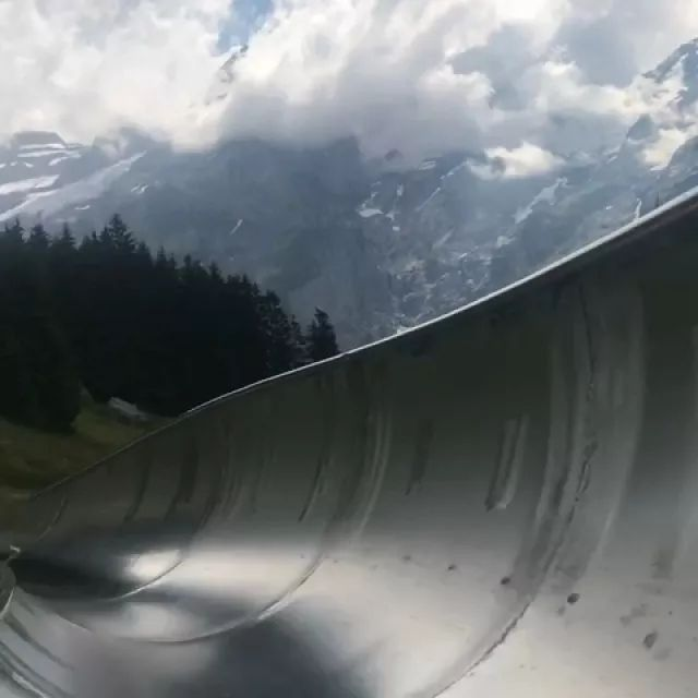 After seeing a video on YouTube, my wife promised she'd take me to an alpine slide in Switzerland one day. Today we rode one in Kandersteg, Switzerland! It was only $5/ride.