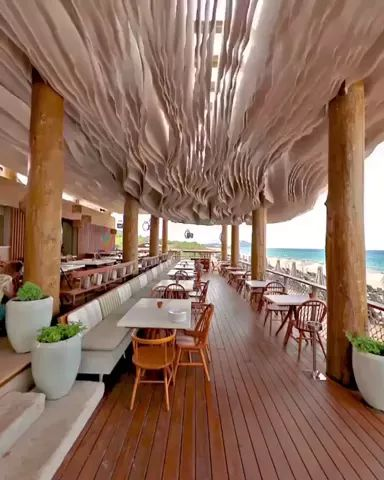 wind hitting ceiling of this beach bar