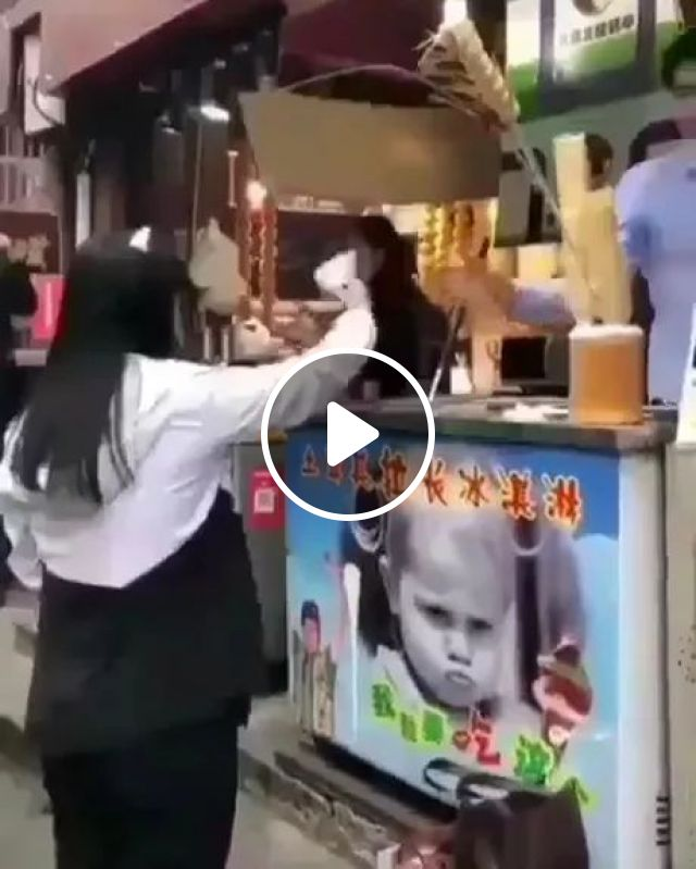 Girl Wants To Buy Ice Cream, And Ice Cream Seller Is Happy - Video & GIFs | Girl, female fashion, ice cream, ice cream machine, ice cream seller, happy