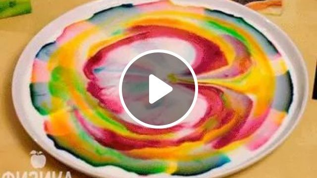 If You Drip Soapy Water Into Milk Or Water, Then Such A Beautiful Effect Will Begin - Video & GIFs   Decorate drinks, delicious milk, beautiful colors