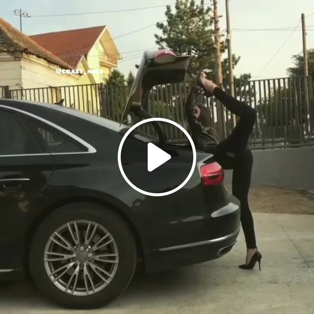 Girl Uses Her Legs To Open Trunk Of A Luxury Car - Video & GIFs | girls, fashionable clothes, fashionable high heels, foot, open, luxury car trunk