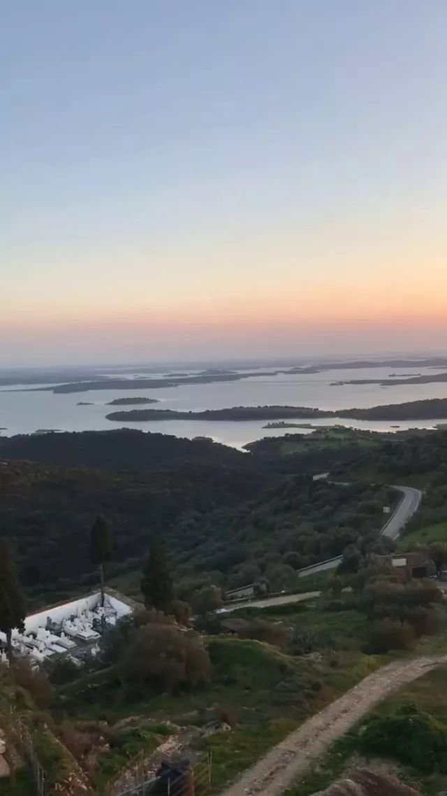 on the mountain overlooking lake, river, mountain, sunset in Monsaraz, Portugal - Video & GIFs   mountain, overlooking, lake, river, mountain, sunset, Monsaraz, Portugal, nature,Portugal travel