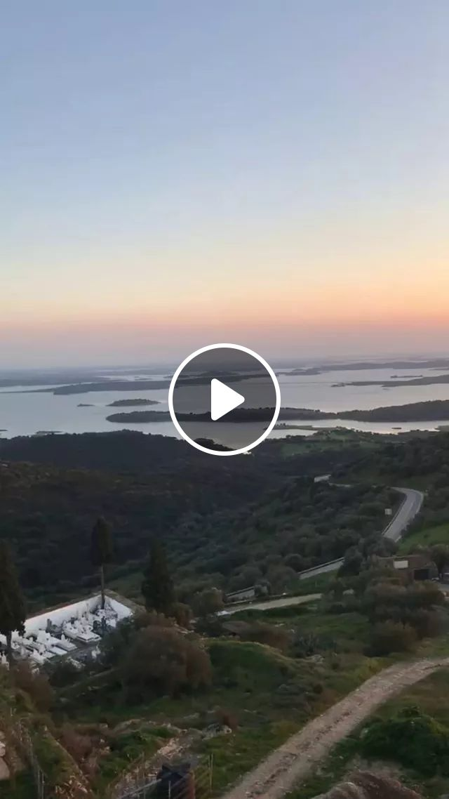 On The Mountain Overlooking Lake, River, Mountain, Sunset In Monsaraz, Portugal - Video & GIFs   mountain, overlooking, lake, river, mountain, sunset, Monsaraz, Portugal, nature, Portugal travel