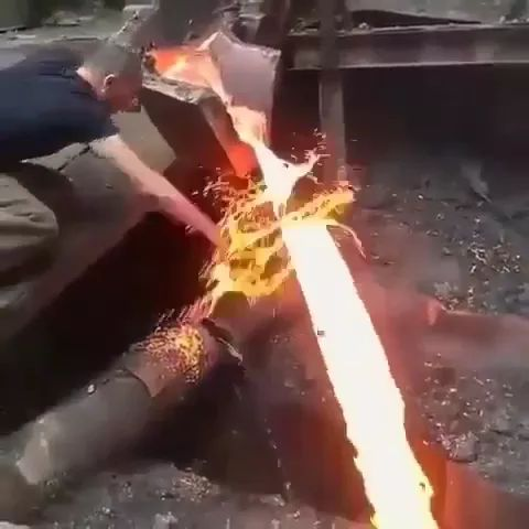 Workers in a metal factory, touch hands with molten metal - Video & GIFs | workers, factories, metals, mechanical machines, technology, molten metal
