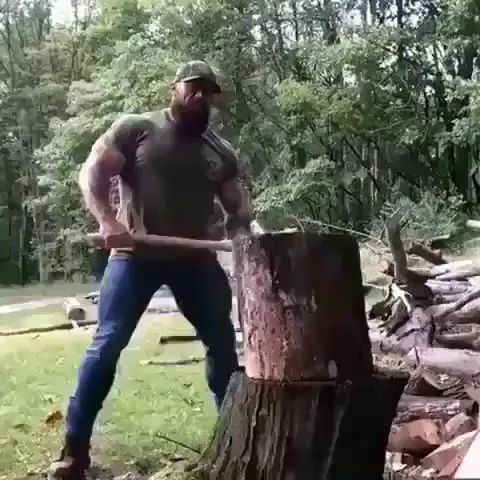Legend says,ifyou beat allcrossfitters at a studio,he wil lbe endboss - Video & GIFs | ax, wooden products, men, men's fashion, performances