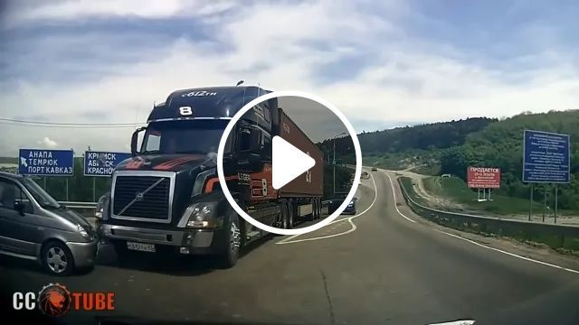 Tractor Truck Brakes Suddenly, Avoiding Collision Of Luxury Cars On The Highway - Video & GIFs   tractors, cargo vehicles, luxury cars, highways