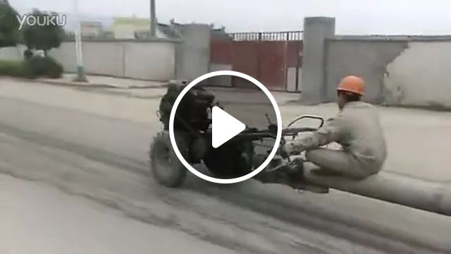tractor is powerful and convenient to transport workers on the road