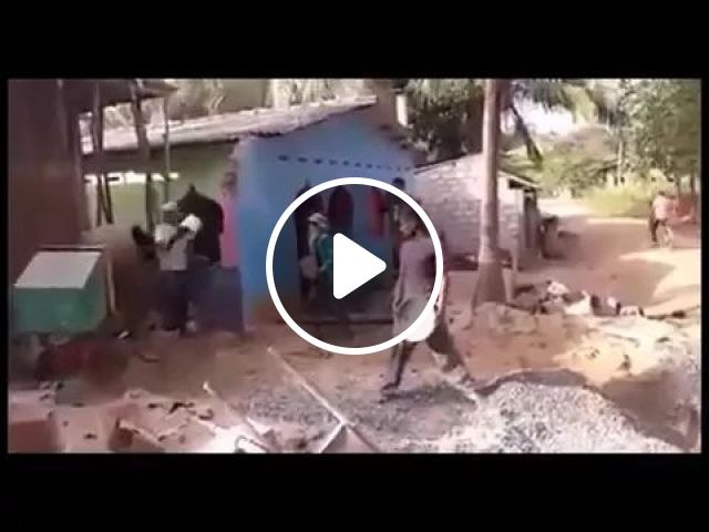 Hard construction workers in project