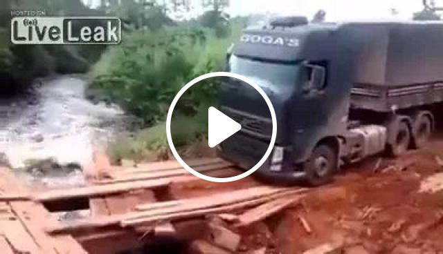 Tractor truck on hard road