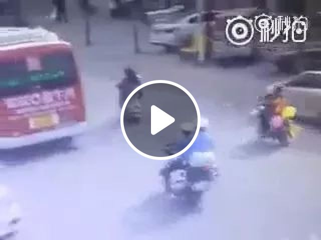 Motorcycle police vs motorbike of two men on the street