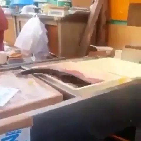 Fish is still very fresh in restaurant's kitchen.