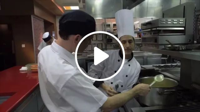 Chef tasting food in kitchen, Smart man, funny chef, delicious food, cooking tools, kitchen equipment, American restaurant