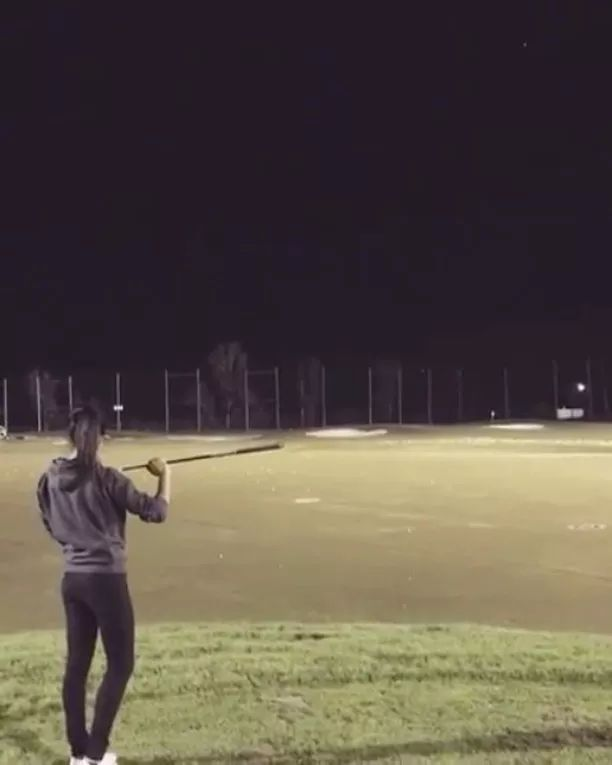 Talented girl performing golf