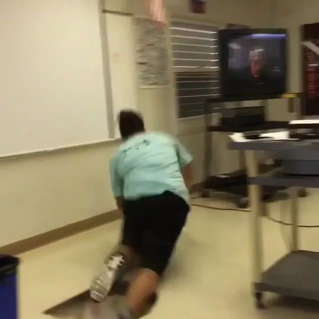 Students and jumps in classroom
