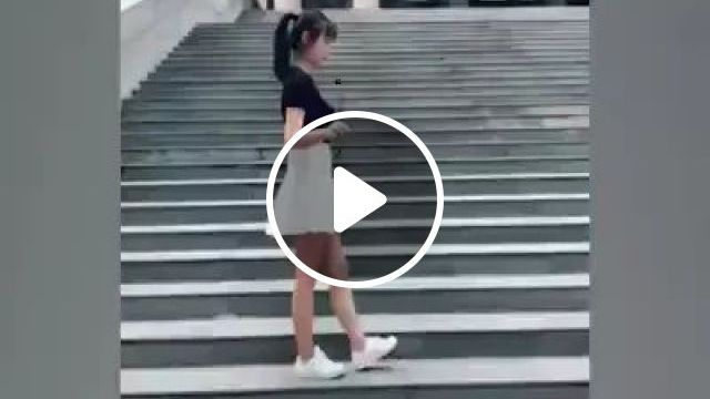 Girl Walked Up Stairs With Dancing Steps - Video & GIFs   Cute girls, fashion shoes, fashion dresses, concrete stairs
