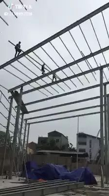 Workers are building factories